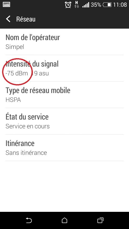 menu NIVEAU DE SIGNAL sous Android