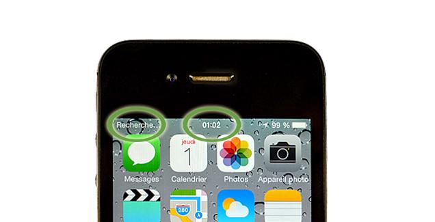Ecran d'iPhone montrant la mention 'pas de réseau'