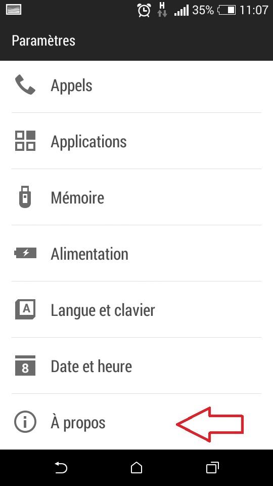 menu A PROPOS de téléphone Android