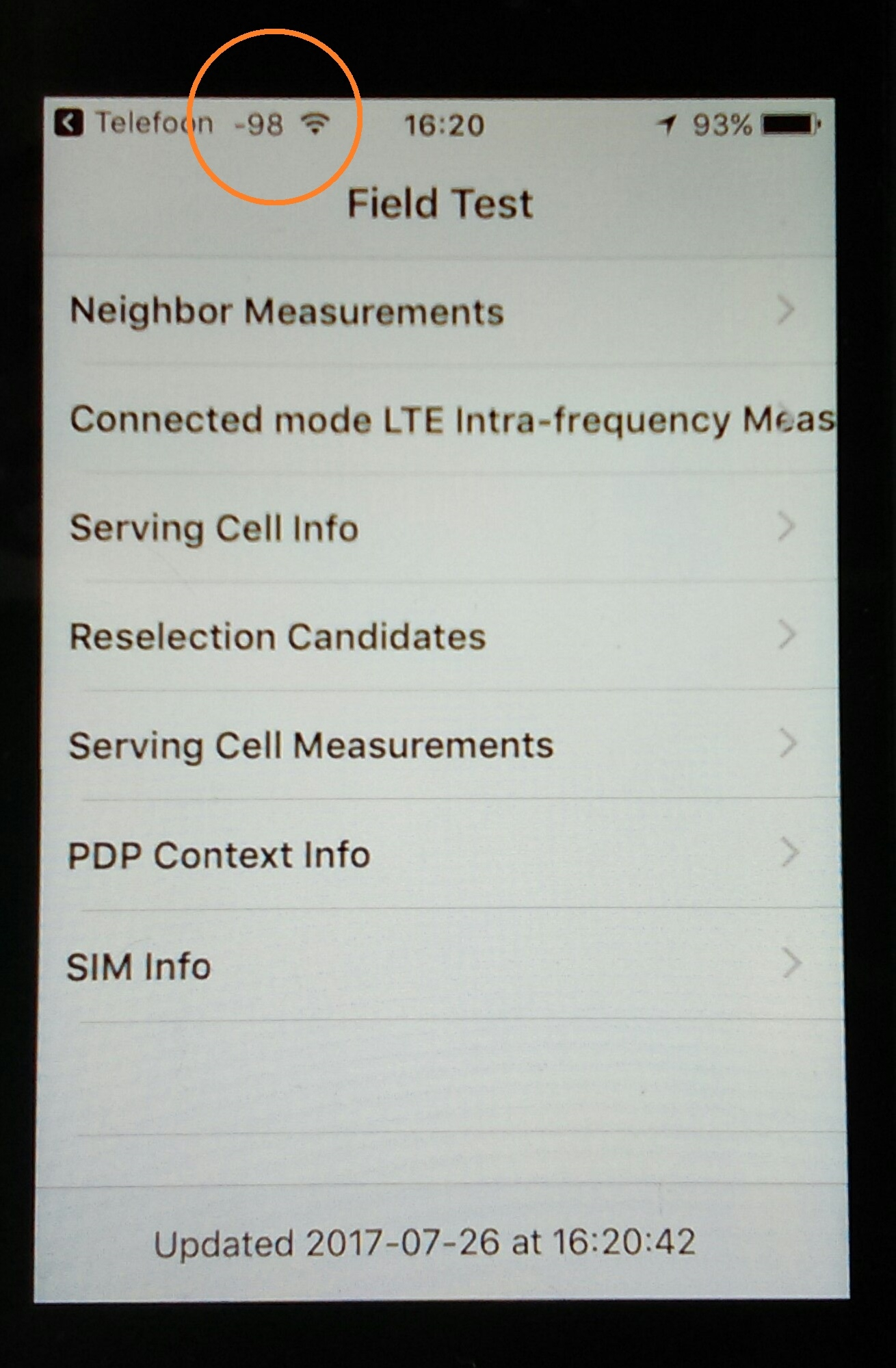 iPhone field measurement screen display